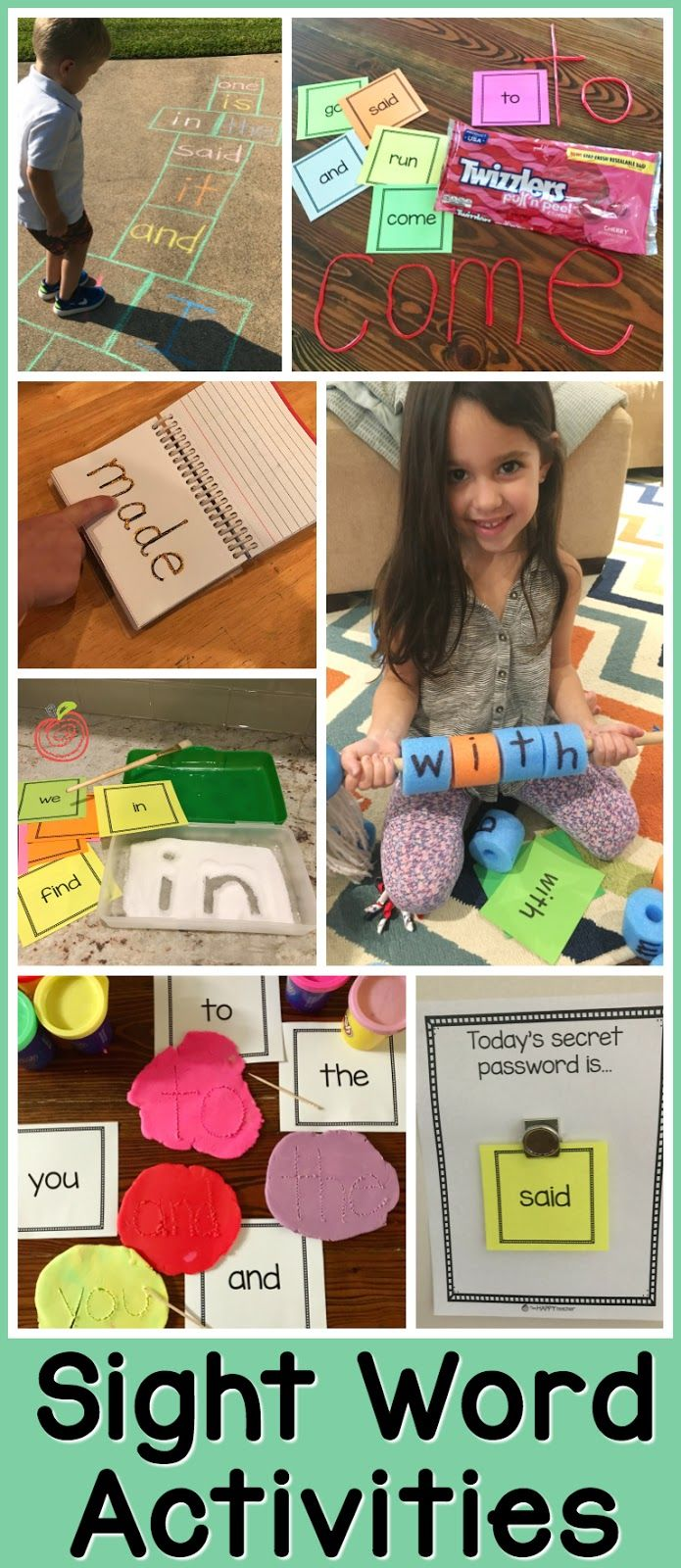 Sight Word Activities & Games for Parents to use at home with their PreK, Kindergarten, First Grade, or 2nd Grade student. These are hands on, fun, and engaging ideas that also happen to be easy to set up. If you are a parent and you aren't sure how to review sight words with your child, check out this awesome blog post for tons of ideas!