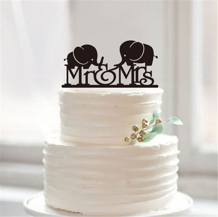 """Wedding Cake Topper -Lovely Mr & Mrs Elephant (Cute /Pretty /Sweet) Material: Acrylic - Color: Black Approx. Size: - 5.7"""" x 2.8"""" (14.5cm x 7cm) - Style: Mr & Mrs Elephant Category: Cake Topper / Cake"""