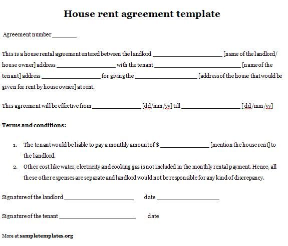 House Rent Contracts Rental Agreement Templates   Free Word
