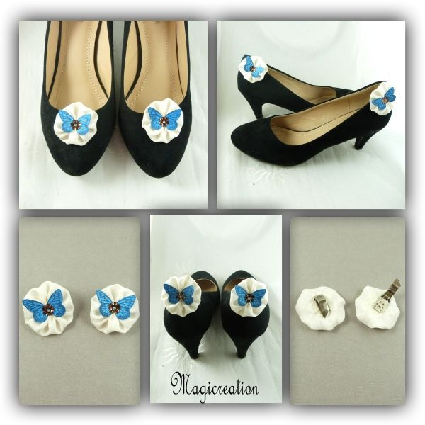 CLIPS CHAUSSURES FLEUR PAPILLON SOIE BLANC BLEU- MIA - Boutique www.magicreation.fr
