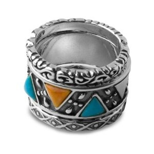 Sterling Silver Turquoise and Orange Spiny Oyster Shell Ring Set (Jewelry) - CLEARANCE!  http://www.modernwebmaster.com/modernweb.php?p=B0049AOMHO  B0049AOMHO