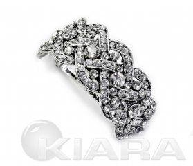 Metalowa klamra z zapięciem francuskim, w kolorze starego srebra z prawdziwymi kryształami w kolorze cristal. Spinki francuskie mają bardzo trwałe i odporne na uszkodzenia zapięcie - automat   długość automatu 3,8 cm