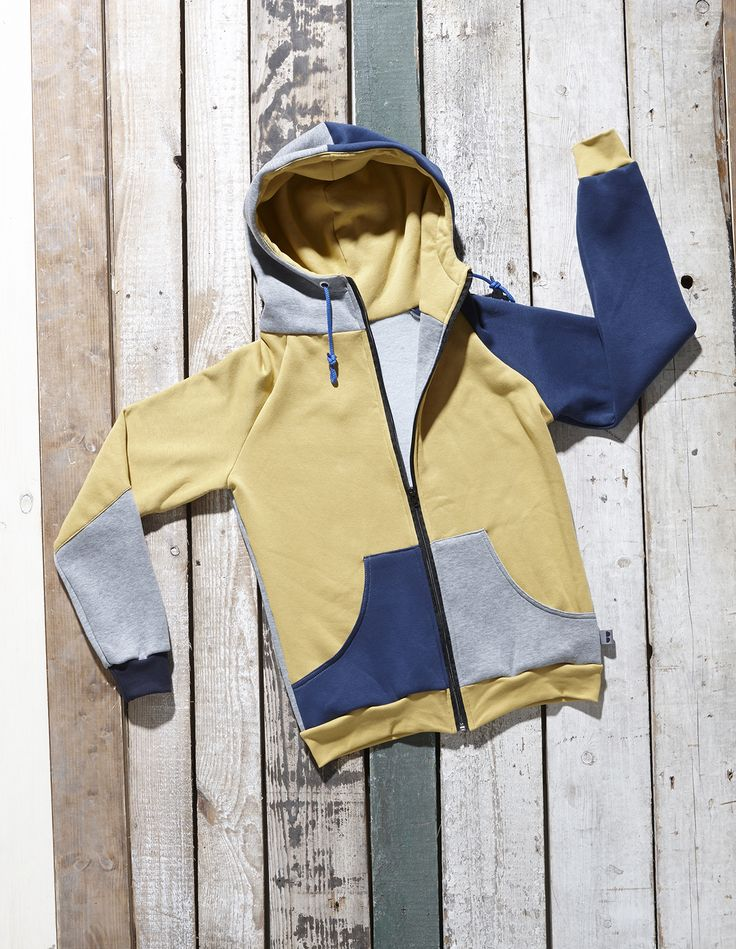 Ocher yellow, grey and blue Arce zip hoodie by Bosis