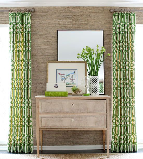 Color, Please:: The large-scale pattern on the draperies in the living room inspired the palette of Kelly green and neutrals that was carried throughout the home. Playful colors and punchy patterns were used strategically throughout the home to create a pleasing feminine/masculine balance and to reflect the family's fun personality.: