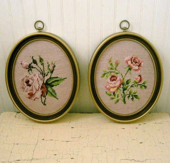 Pair of Vintage Framed Rose Needlepoints