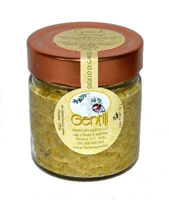 Crema di asparagi. Vasetto da 180 gr. Crema spamabile ottenuta da asparagi con l'aggiunta di olio extravergine Gentili, aceto e sale