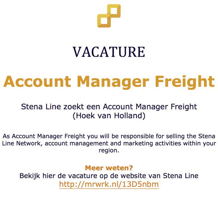 Vacature: Stena Line zoekt een Account Manager Freight (Hoek van Holland) http://mrwrk.nl/13D5nbm