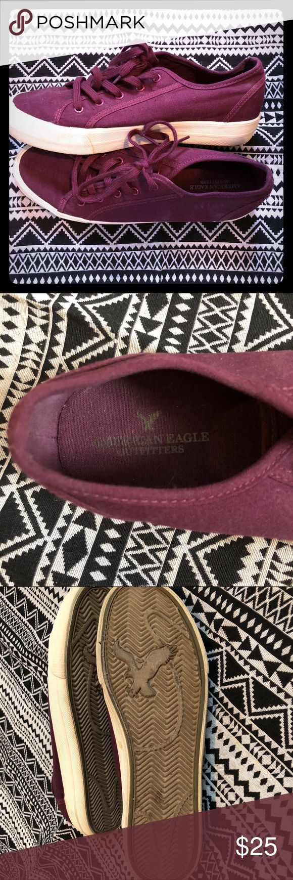 American Eagle platform tennis shoes 9 Gently worn. In good condition, no flaws or damages. True color is burgundy. American Eagle Outfitters Shoes Sneakers