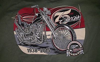 Sturgis 2015 Black Hills Rally Motorcycles T-Shirt Green XL NWT 75th Annivers.