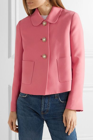 Miu Miu | Cropped embellished crepe jacket | NET-A-PORTER.COM