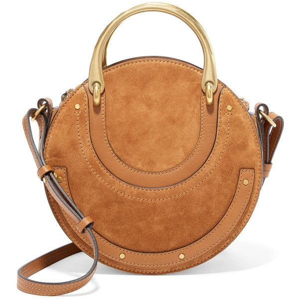 Chloé Pixie suede and textured-leather shoulder bag (€1.255) ❤ liked on Polyvore featuring bags, handbags, shoulder bags, brown, shoulder handbags, cell phone purse, zipper shoulder bag, chloe handbags and brown handbags