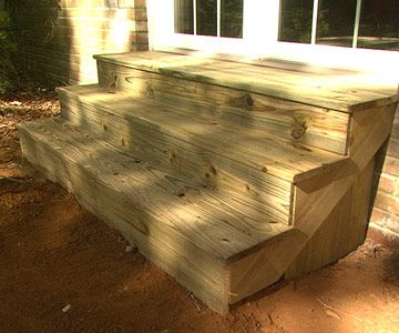 Because these steps were made from pressure-treated pine, they will last for many years. Pressure-treated pine usually arrives wet with preservative, so allow the wood to dry out before finishing with an exterior porch and deck paint or waterproofing stain.