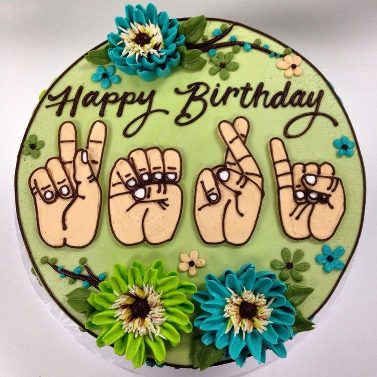 Sign language birthday cake
