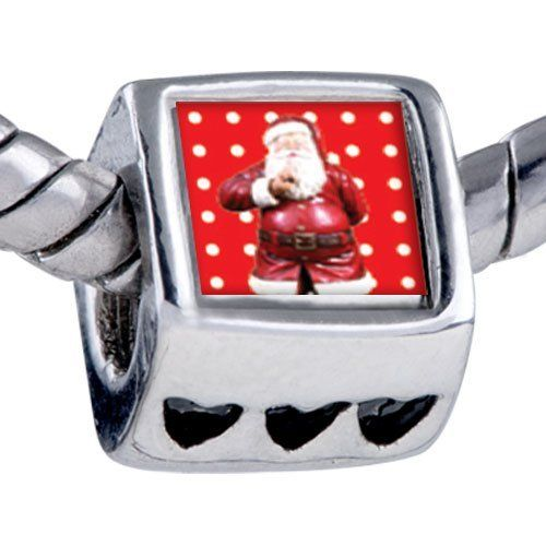 Pugster Bead Quiet Santa Beads Fits Pandora Bracelet Pugster. $12.49. It's the photo on the heart charm. Unthreaded European story bracelet design. Fit Pandora, Biagi, and Chamilia Charm Bead Bracelets. Hole size is approximately 4.8 to 5mm. Bracelet sold separately