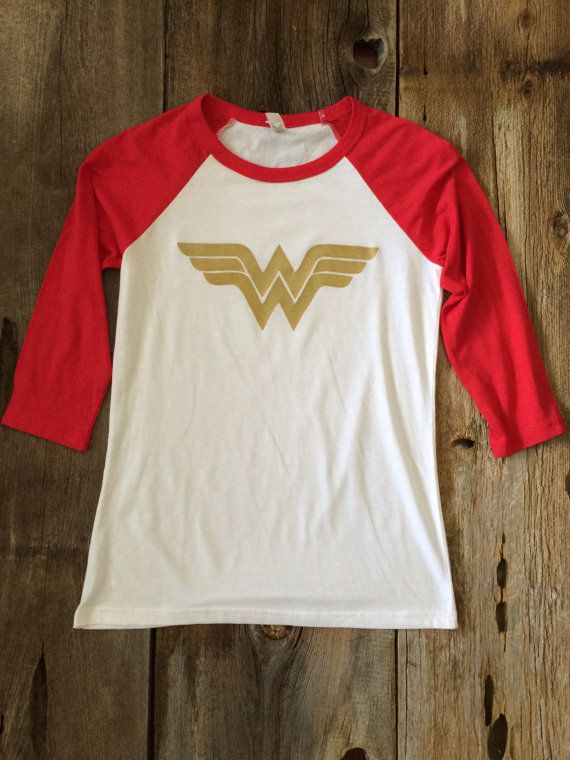 Hey, I found this really awesome Etsy listing at https://www.etsy.com/listing/203648579/sparkly-wonder-woman-baseball-t-shirt
