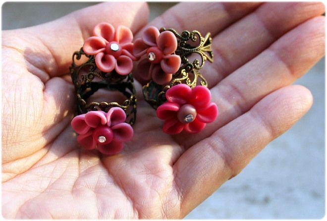 Anello Fiore Pink Fimo