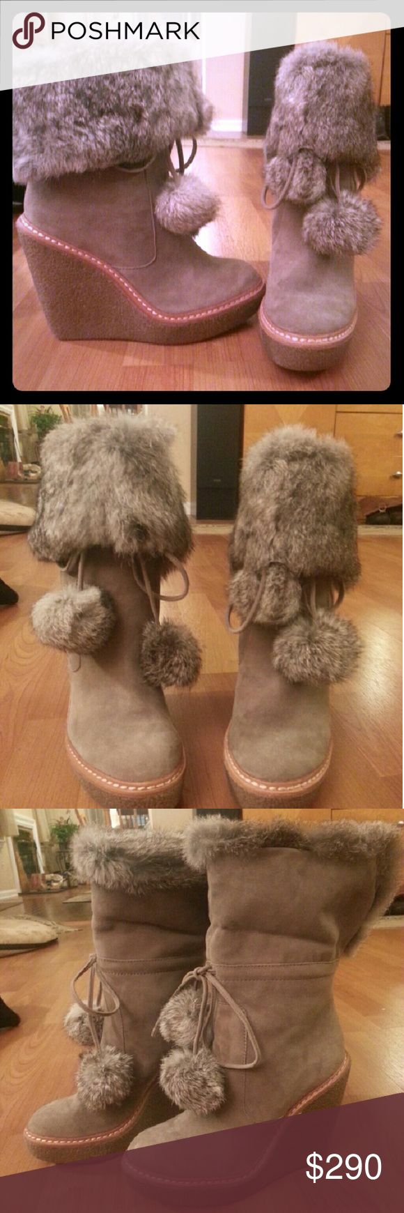 Ash Beige Suede and Fur Wedge Boots ASH beige suede and genuine rabbit fur wedge boots.NWOT, never worn. Extremely comfortable. Size 7. Ash Shoes