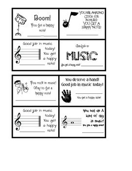 """Here are 16 unique musical happy notes or caught being good cards.  I created them with various fonts and clip art from the discovery education site.  The borders are thick, making it easy to cut with a paper cutter.  """"Clip art licensed from the Clip Art Gallery on DiscoverySchool.com"""""""