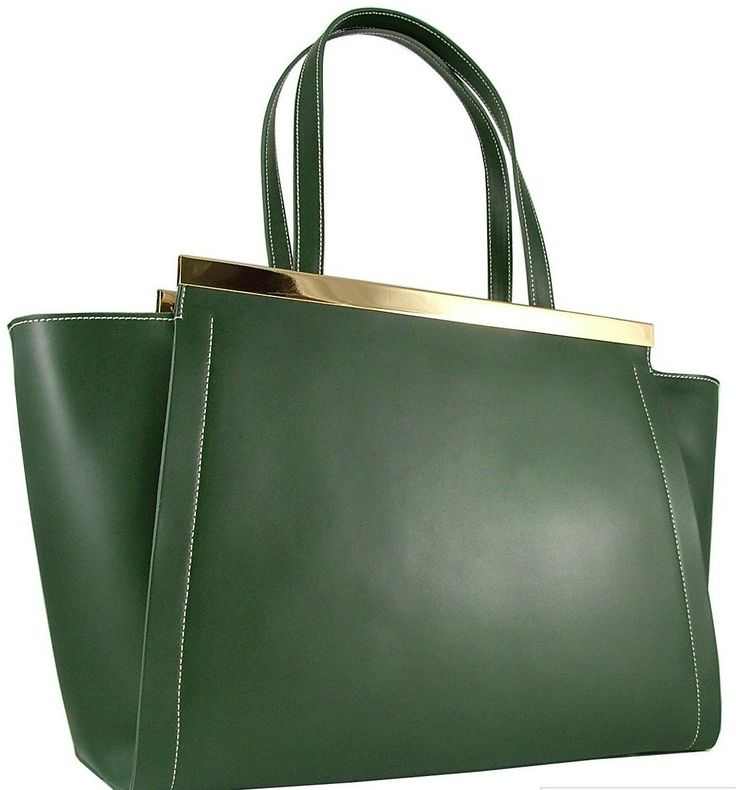 Am liking this Virginia a unique polished leather bag from Italy with metallic strips - Olive green