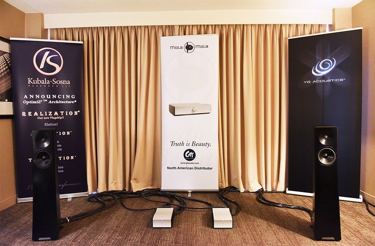 Audio Oasis Awards AXPONA 2017.  YG Acoustics Carmel 2 loudspeakers with Mola Mola amps and Kubala-Sosna cables