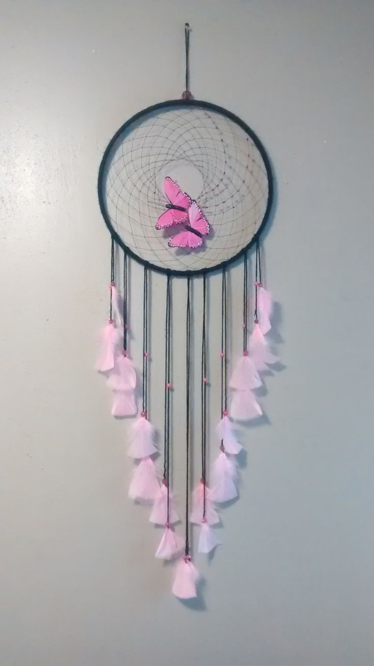 Unique Pink Butterfly Dream Catcher. Perfect for a little girls room. Great birthday gift. by BranchofDreams on Etsy