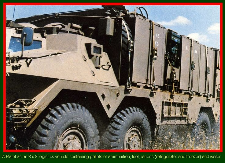 SADF.info - Ratel Armoured Infantry Fighting Vehicle - A Ratel as an 8 x 8 logistics vehicle containing pallets of ammunition, fuel, rations (refrigeration and freezer) and water