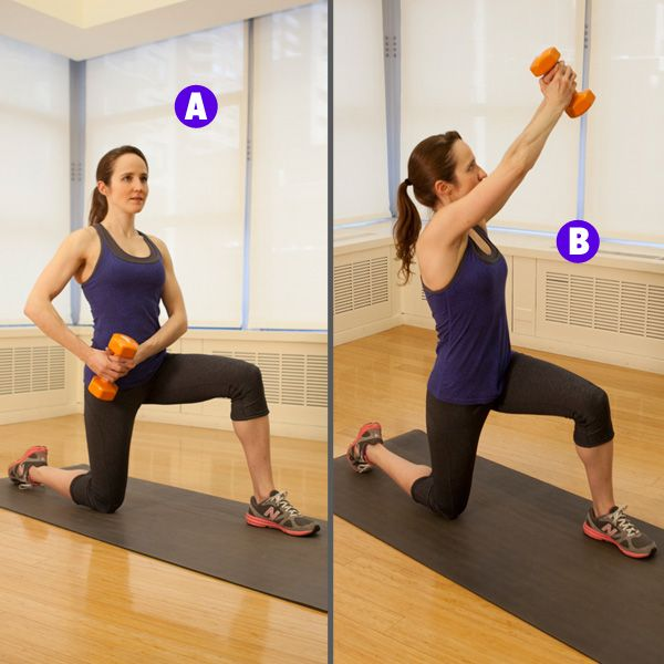 6 Moves for Strong and Toned Abs:  Note the half kneeling diagonal chops and the bridge with alternating leg extensions.