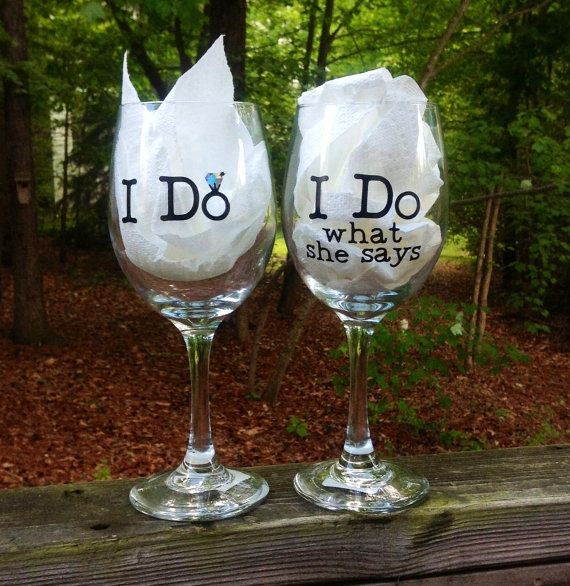 Personalized Bride and Groom Wedding Wine Glasses by SeaSideSandys, $19.95