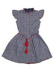 Платье из хлопка SOFT SECRET.  Милое хлопковое платье на пуговицах для маленькой модницы. Талия фиксируется декоративным контрастным шнуром с кисточками на концах.