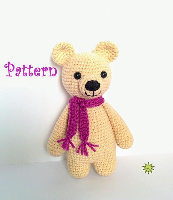Baby bear PDF crochet pattern, amigurumi small bear, cute bear, easy crochet pat…
