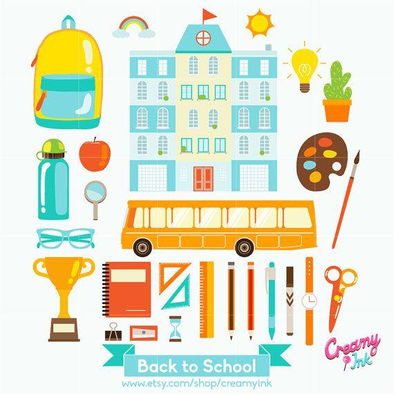 Back To School Digital Vector Clip art/ School Days Clipart Design Illustration / Kids, Children, Teacher, Student, Stationery