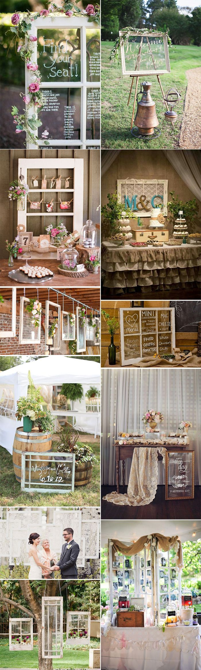 Ideas geniales para decorar vuestra boda o fiesta con marcos de ventana antiguos.