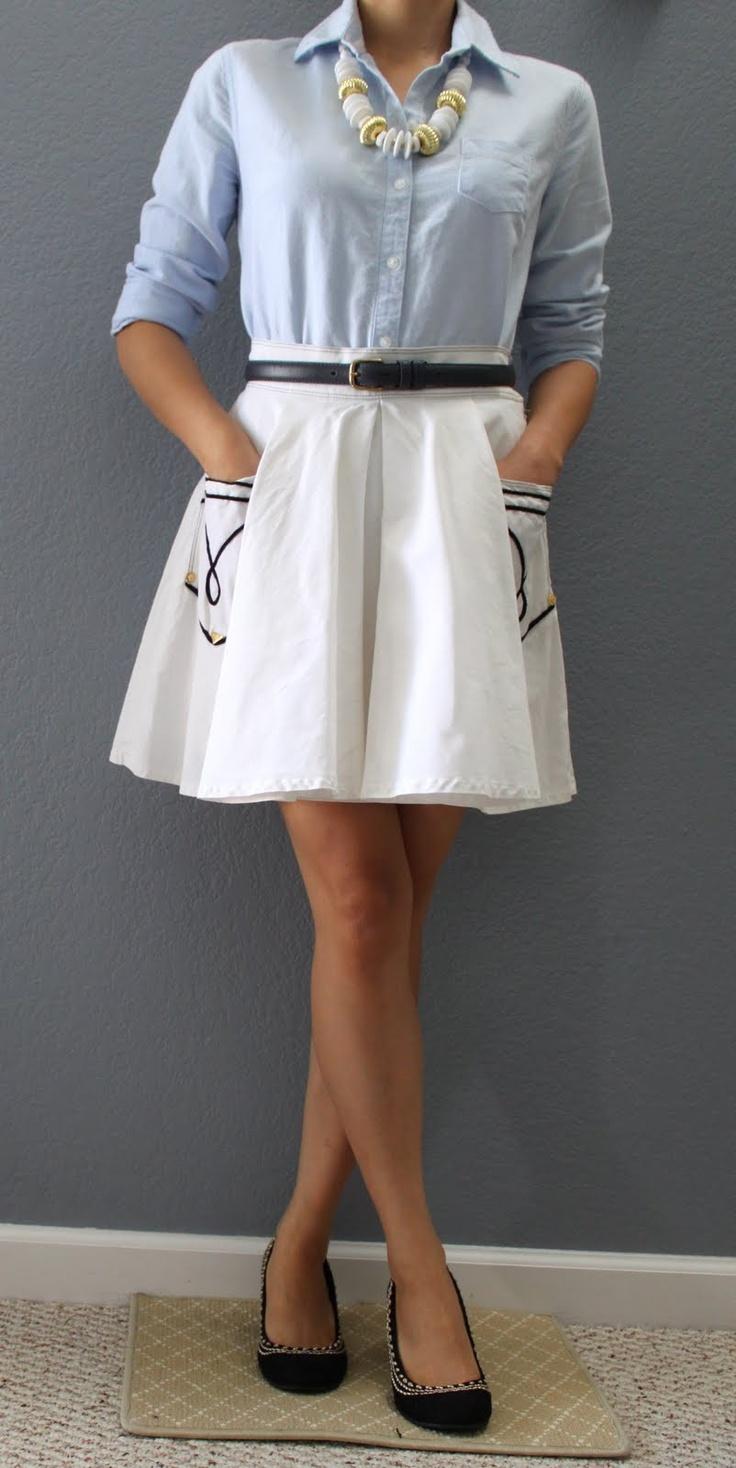 Chambray Shirt + White Nautical Skirt