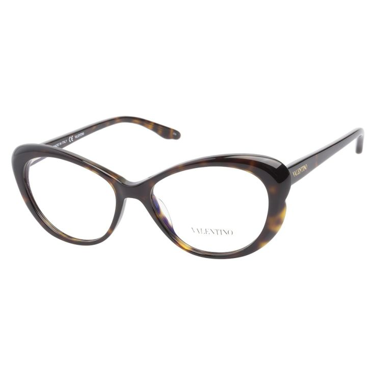 Valentino V2602 215 Dark Havana eyeglasses are glamorously dramatic. This feminine cateye frame has a luxurious dark havana finish inspired curves on the edges. The smooth temples are adorned with the classic Valentino logo in gold.