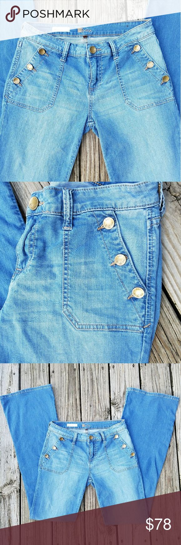 Amazing Kut Jeans Kut Jeans Style Jane Super Flare Super Stylish Buttons Down Front Pockets Size 6 Like New Condition Kut from the Kloth Jeans Flare & Wide Leg