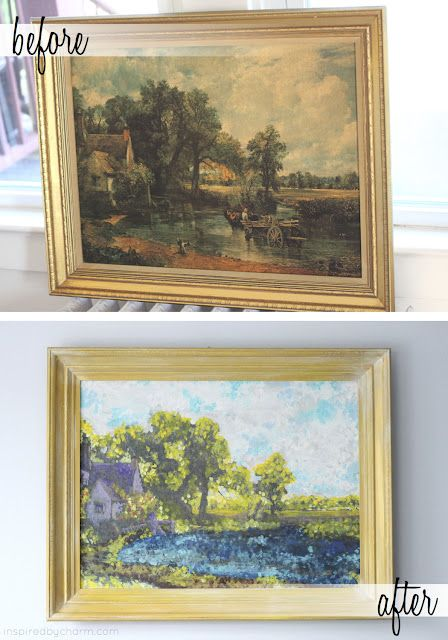Really cool decorating idea.  Use an old thrift store painting as a guideline and paint over it Monet Style (lots of dots of color), brighting it up and making it fresh again. Amazing! By Inspired by Charm.