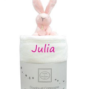 Couverture bébé avec doudou - Lapin rose poupepoupi.com