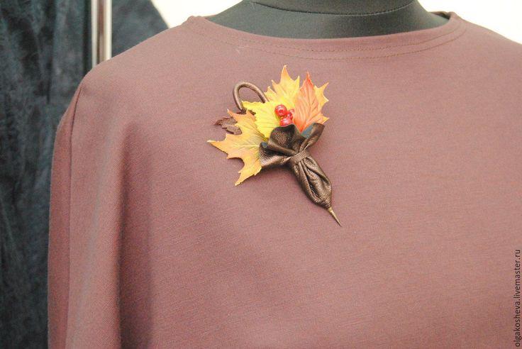 """Купить Брошь заколка из кожи """"Осень"""" - разноцветный, осень, осенняя мода, осень 2015"""