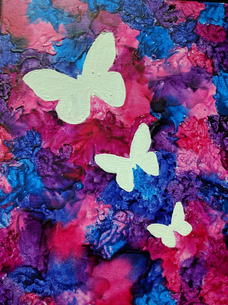 Melted crayon art.. Butterfly silhouettes..