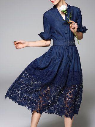 Dark Blue Denim Half Sleeve Midi Dress - StyleWe.com