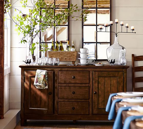 Eagan Multipanel Extra Small Mirror | Pottery Barn. Love the double mirrors over the buffet table.