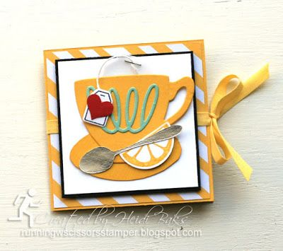 Stampin' Up A Nice Cuppa Tea Bag Holder by #RunningwScissorsStamper, Cups & Kettle framelits, It's My Party DSP