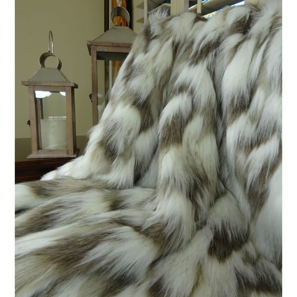 Chenille Vintage White and Chocolate Brown Minky Fur Crushed Velvet Minky Cuddle Fur Bedspread Throw Blanket REVERSIBLE