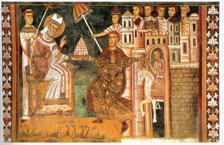 A 13th C. fresco of Sylvester I and Constantine, showing an ombrellino held over a papal tiara (source: Wikimedia)   At least as early as t...