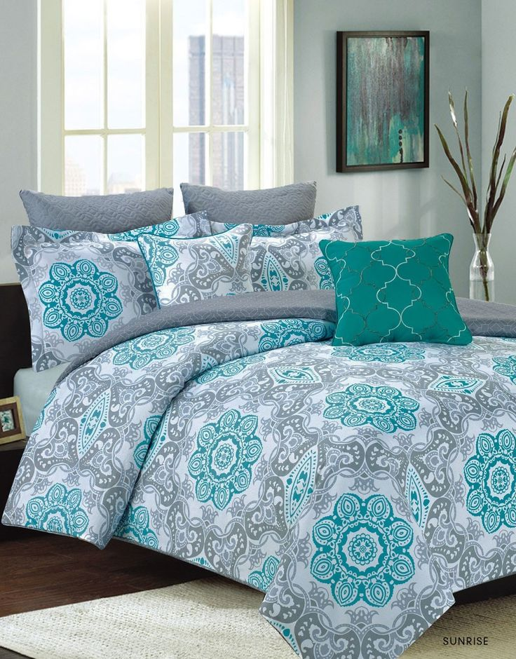 Crest Home Sunrise Queen Size Bedding Comforter 7 Piece Bed Set, Teal Blue and Gray Medallion