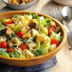 Tortellini Caesar Salad Recipe from Taste of Home | Creamy dressing with plenty of garlic flavor coats the pasta, romaine and croutons nicely.