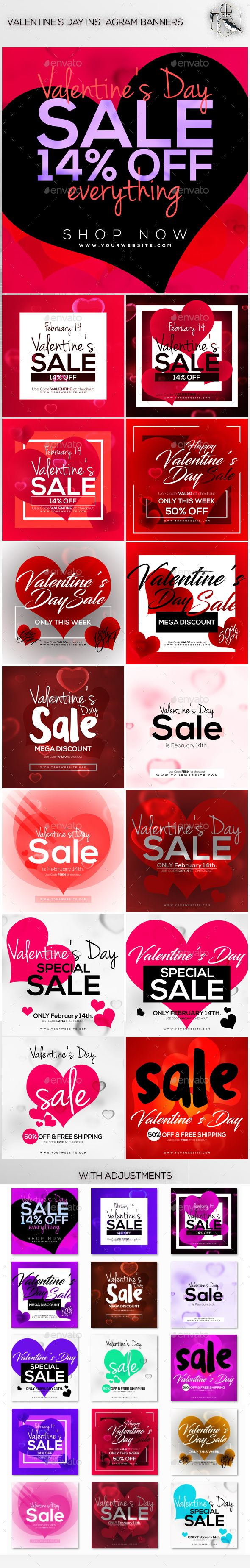 15 Valentine's Day Instagram Banners Template PSD #ads