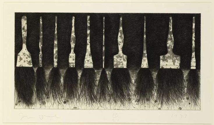 Jim Dine (b. 1935), Five Paintbrushes (sixth state). Etching, aquatint and drypoint in black-green ink on Murillo paper, 1973. © Jim Dine.