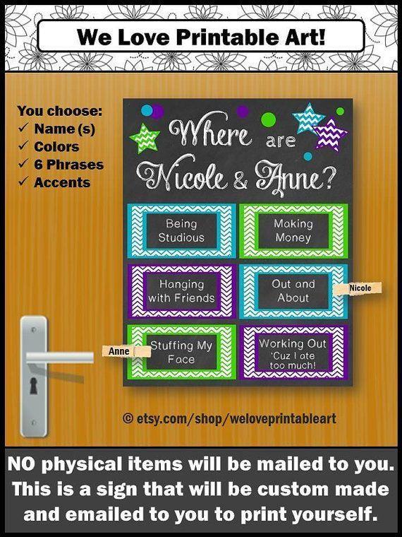 CUSTOM Dorm Door Sign, College Roommate Gift Idea, Decorations