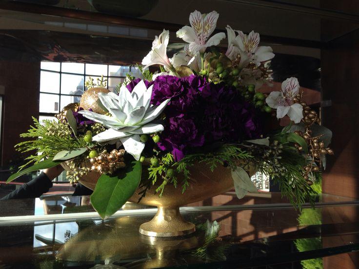 Christmas arrangement: white alstroemeria, succulent, purple carnations